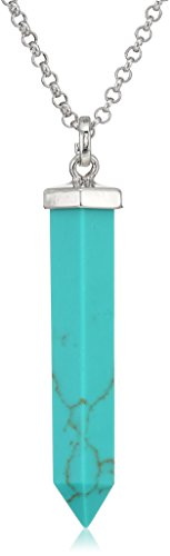 SHIP BY USPS: Silver Tone Simulated Turquoise Amulet Pendant Necklace, 30""