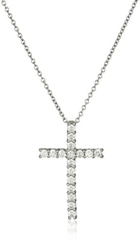SHIP BY USPS: Platinum or Gold-Plated Sterling Silver Swarovski Zirconia Cross Pendant Necklace, 18""