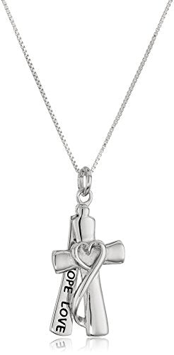 "SHIP BY USPS: Sterling Silver ""Faith Hope Love"" Cross Necklace with Box Chain 18"""