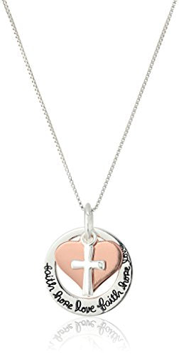 "SHIP BY USPS Two-Tone Sterling Silver and Rose Gold-Flashed ""Faith Hope Love"" Cross Charm Pendant Necklace, 18"""