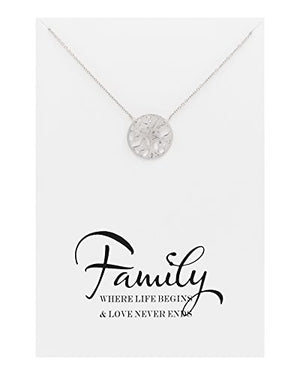 SHIP BY USPS Zealmer Family Tree Necklace Four Leaf Clover Friendship Double Link Infinity Necklace with Message Card