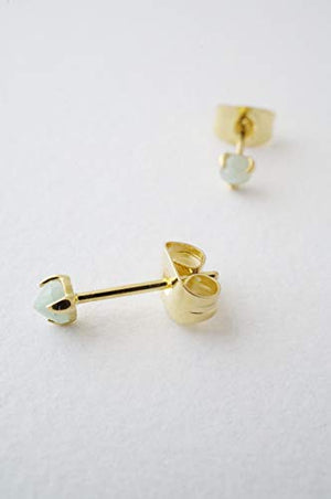 HONEYCAT Tiny Jade Orb Solitaire Studs in Gold, Rose Gold, or Silver | Minimalist, Delicate Jewelry