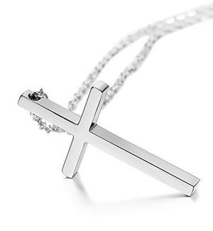 SHIP BY USPS FUNRUN JEWELRY Stainless Steel Cross Necklace for Men Women Chain Necklace Cross Pendant 18-22 Inches
