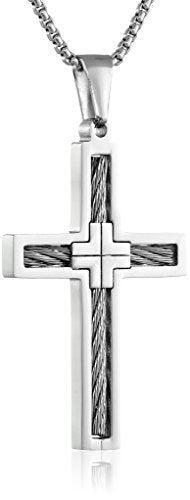 SHIP BY USPS: Men's Stainless Steel Cable Cross Pendant Necklace, 24""