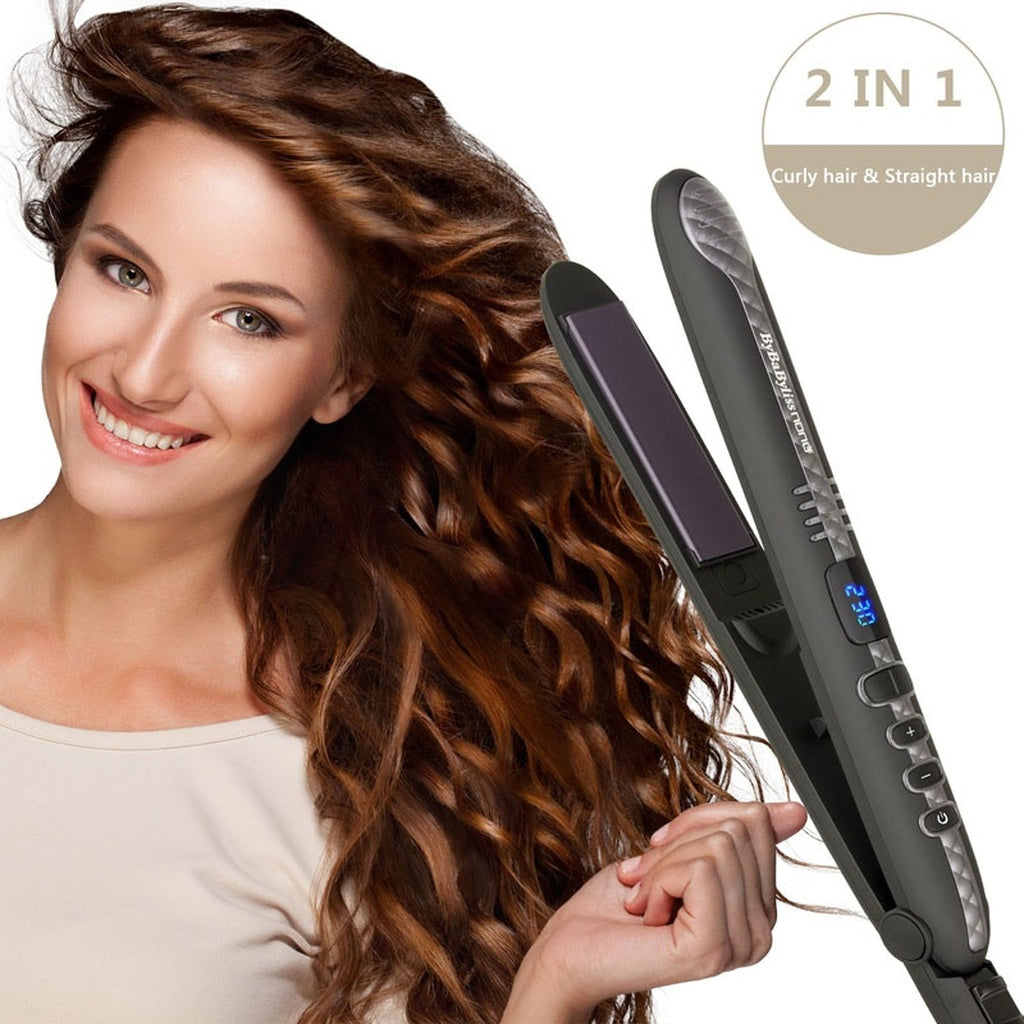 Straight Hair / Curly Hair 2 In 1 Ceramic Hair Straightener LCD Digital Display 230 /470F Hair Straightening Flat Iron