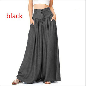 New Arrival Women Fashion Wide Leg Loose Casual Blue Denim Pants Bottom
