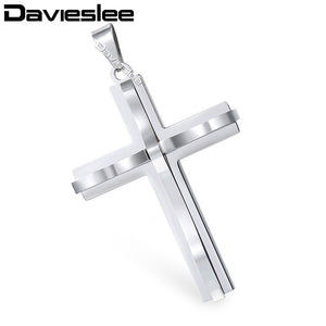 Davieslee Jewelry Mens Stainless Steel Curved Cross Pendant Necklace Chain Valentine's Day Gift