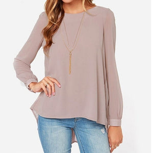 New Women Shirt Hem Chiffon Casual Tops Blouse Irregular Pleated Oversize HJ 2017