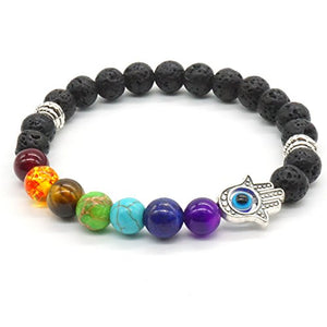 SHIP BY USPS: 3x Buddha Bracelet Friendships Bracelet 7 Chakras Gemstone Lava Stone Bracelet Set