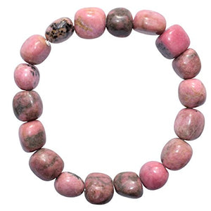 "CHARGED 6"" Rhodonite Crystal Bracelet Tumble Polished Stretchy (Empowering Grace & Raising Kundalini) HEALING ENERGY REIKI by ZENERGY GEMS"