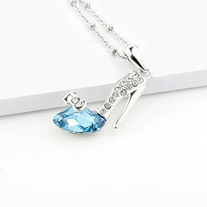 SHIP BY USPS: Le Premium® High Heel Pendant Necklace Irregular Triangle Shaped SWAROVSKI Aquamarine Blue Crystal
