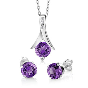 "SHIP BY USPS: Genuine Amethyst 925 Sterling Silver Round Cut Earrings Pendant Set 2.25 Carat with 18"" Silver Chain"