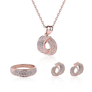 SHIP BY USPS: Wedding Jewelry Set Rose Gold Tone Pendant Necklace and Earring set for Women