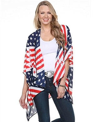 TheFlagShirt Kimono Cape-American Flag With Dark Piping