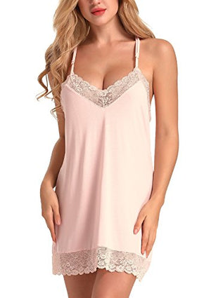 Women Sleepwear Lace Backless Nightgown Sexy Lingerie Babydoll Cotton Chemise
