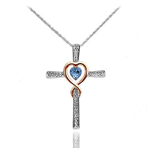 SHIP BY USPS:  Infinity Love of God Women Heart Crystals Cross Pendant Necklace Made with Swarovski Elements