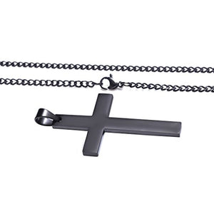 SHIP BY USPS ZX Jewelry Stainless Steel Black Cross Pendant Necklace for Women Men Simple Curb Chain