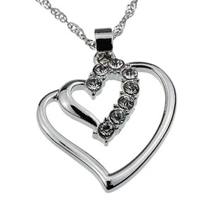 SHIP BY USPS: Silver Crystal Double Heart Pendant Necklace Perfect Valentine's Day Jewelry Gift for Woman Teens Girls