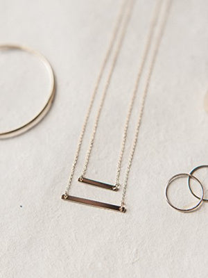 HONEYCAT Double Layered Bar Necklace in Gold, Rose Gold, or Silver | Minimalist, Delicate Jewelry