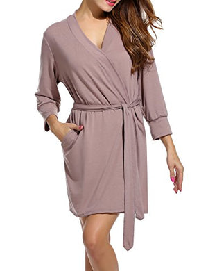 Women's Robe Soft Kimono Cotton Breathable Hotel Spa Bathrobe Sleeve Short Sleepwear S-XXL
