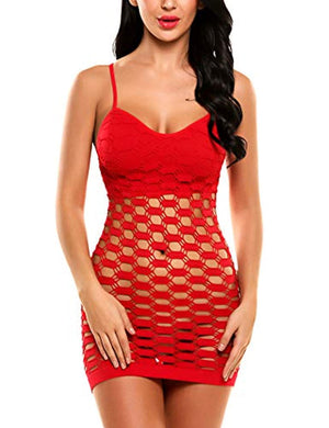 Women's Fishnet Lingerie Mesh Hole Strap Chemise Babydoll Mini Dress