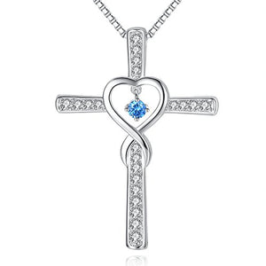 SHIP BY USPS Infinity Love God Cross CZ Pendant Necklace with Birthstone, Birthday Gifts, Jewelry for Women, Girls
