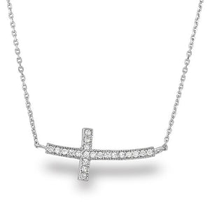SHIP BY USPS: Spoil Cupid Rhodium-Plated Sterling Silver Cubic Zirconia Curved Sideways Cross Chain Necklace,18""