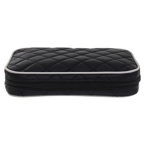 Ellis James Designs Quilted Travel Jewelry Organizer Bag Case - Black - Soft Padded Traveling Jewelry Roll Pouch with Compartments and Necklace Holder