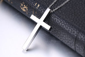 SHIP BY USPS Reve Simple Stainless Steel Silver Tone Cross Pendant Necklace for Men Women, 20''-24'' Chain