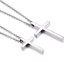 SHIP BY USPS Reve Simple Stainless Steel Silver Tone Cross Pendant Chain Necklace for Men Women, 20''-22''