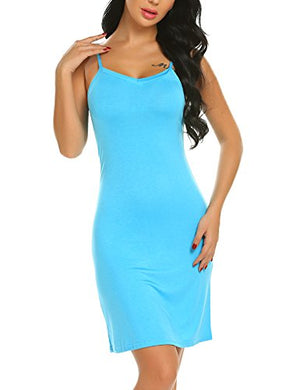 Women Full Slips Cotton Blend V Neck Straight Dress Nightwear