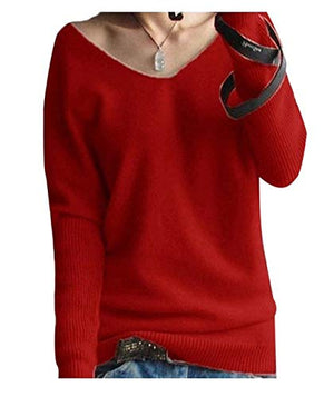 LONGMING Women's Fashion Big V-Neck Pullover Loose Sexy Batwing Sleeve Wool Cashmere Sweater Winter Tops
