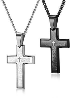 SHIP BY USPS: LOYALLOOK 2pcs Men's Stainless Steel Silver Black Tone Cross Pendant Lord's Prayer Necklace 24 Inch