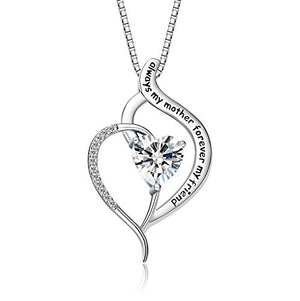 FANCYCD Holiday Deals Week Always My Mother Forever My Friend Love Heart Necklace, Jewelry for Women, Mother's Day Gifts for Mom, Wife, Aunt, Grandma