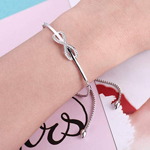 NINAMAID Women Girl Silver Infinity Endless Love Symbol Adjustable Bolo Chain Bracelet in Swarovski Crystal for Women Girl