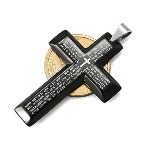 28e8028ce7f776 ... Inch · Jstyle Jewelry Men's Stainless Steel Simple Black Cross Pendant  Lord's Prayer Necklace 22 24 ...