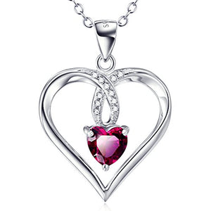 "Sterling Silver Rubby Red Heart Infinity Love Heart Engraved Charm Pendant Necklace 18""(Charm Heart)"