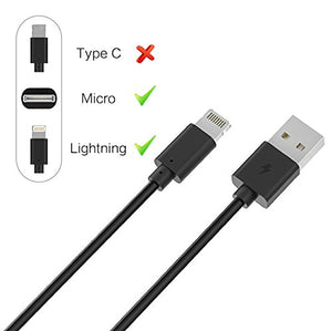 YCIND Micro USB Lightning Cable 2 in 1 USB Charging Cable Universal USB Cable for iPhone 7/7PLUS/6/6Plus/5S/5C/5 iPad Mini Samsung HTC Sony and More Black 6ft 2-Pack
