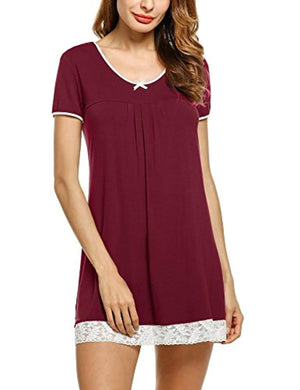 Sleepwear Womens Cotton Nightgown Short Sleeve Sleep Nightdress Scoopneck Sleep Tee Nightshirt S-XXL