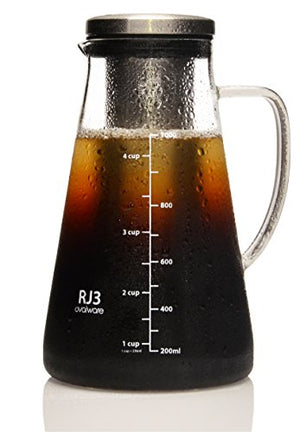 Airtight Cold Brew Iced Coffee Maker (& Iced Tea Maker) with Spout – 1.5L/51oz Ovalware RJ3 Brewing Glass Carafe with Removable Stainless Steel Filter