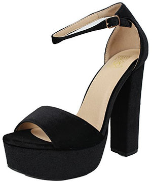 Speed Limit 98 SpeedLimit 98 Women's Open Toe Velvet Ankle Strap Platform Chunky Block Heel Sandal