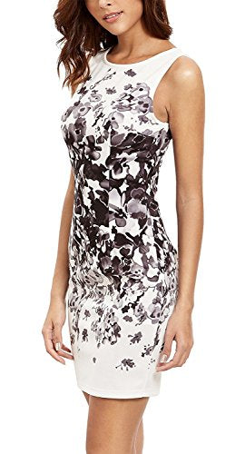 Floerns Women's Floral Print Sleeveless Sexy Bodycon Cocktail Party Round Neck Summer Dresses