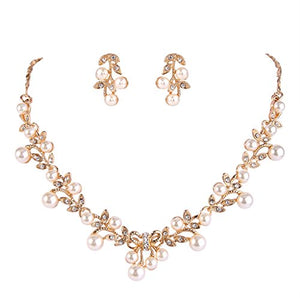 SHIP BY USPS: EVER FAITH Women's Simulated Pearl Vine Leaf Bowknot Necklace Earrings Set