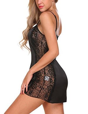 Women Lace Lingerie Satin Pajamas Sexy Nightwear Chemise Nightgown