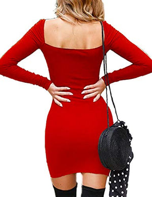 Haola Womens Long Sleeve Bodycon Dress Sexy Backless Square Neck Club Mini Dress
