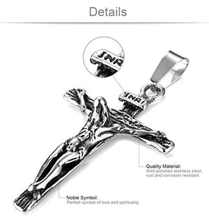 SHIP BY USPS Jewelry Stainless Steel Antique Cross Crucifix Pendant Necklace For Men 24 Inch