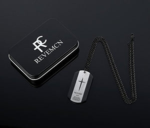 Stainless Steel Bible Verse Proverbs 4:23 Cross Dog Tag Pendant Necklace for Men, 24''-28'' Chain