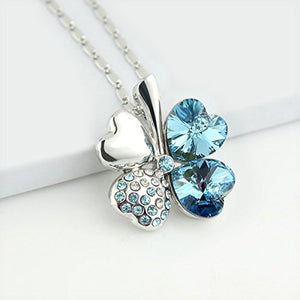 SHIP BY USPS: Jewelry Set Clover Pendant Necklace+Stud Earring Heart Shaped SWAROVSKI Aquamarine Blue Crystals