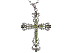Alilang Silvery Tone Synthetic Turquoise Crystal Rhinestone Holy Cross Pendant Necklace