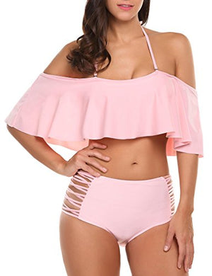 Women's Two Piece Off Shoulder Swimsuits High Waisted Bikini Set